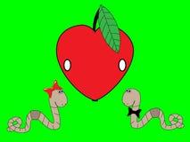 Wormen en een appel Stock Fotografie