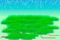 Wormen, regen en gras vector illustratie