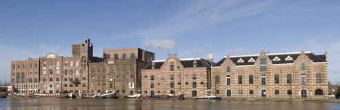 Wormer. Historic buildings along the river Zaan, the Netherlands Royalty Free Stock Images