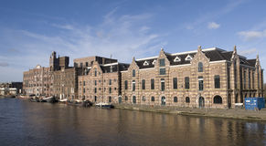 Wormer. Historic buildings along the river Zaan, the Netherlands Royalty Free Stock Photography