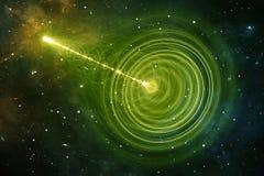 Wormhole of blackhole, trechter-vormige tunnel die één heelal aan een andere kan verbinden Plaats-tijdafwijking Stock Foto