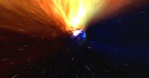 Wormhole derecho con época y espacio, nubes, y millones de estrellas Deformación todo derecho con esta ciencia