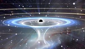 Wormhole ou blackhole, túnel funil-dado forma que pode conectar um universo com o outro Fotos de Stock Royalty Free