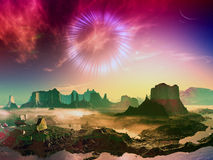 Wormhole over Alien World. Event horizon of black hole visible in sky over iridescent rocky landscape on distant planet Stock Photography