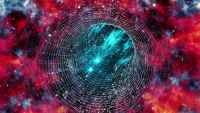 Wormhole travel looped in red-shifted colors stock footage