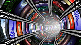Wormhole with video wall. Abstract futuristic background Stock Images