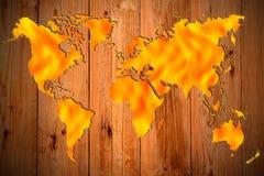 Worming global atrás de de madeira Imagens de Stock Royalty Free