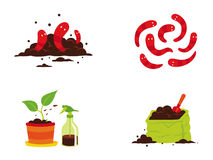 Worms and compost. Icons about composting process, warms, bio fertilizer and compost Stock Photo