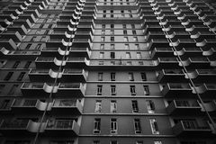 Worms Eye View of Building in Black and White Photography Royalty Free Stock Photo