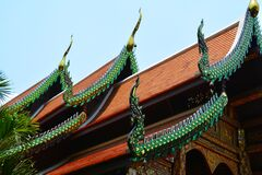 Worms Eye View of Green and Orange Temple Royalty Free Stock Image
