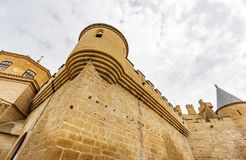 Medieval castle of Olite bottom view in Navarre, Spain. Worms eye view of medieval castle of Olite in Navarre, Spain Royalty Free Stock Image