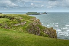 The Worms Head, Rhossili, South Wales, UK. Stock Images