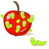 Wormy apple. Funny caterpillar sitting in an apple. One larva looks at them from the side. An isolated figure. Comics Royalty Free Stock Images