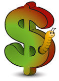 Wormy Dollar Royalty Free Stock Images