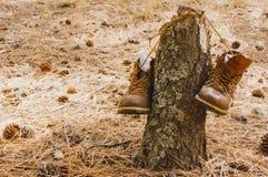 Worn пешие ботинки Стоковые Изображения RF