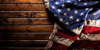 Free Worn American Flag On Dark Wooden Background Stock Photos - 156809823
