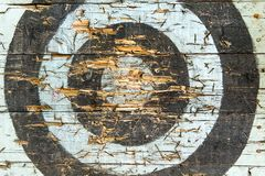 Worn archery target board Stock Image