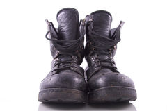 Worn black army boots Royalty Free Stock Photos