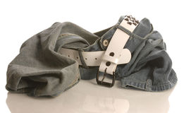 Worn blue jeans Stock Images