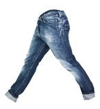 Worn blue jeans isolated Royalty Free Stock Image