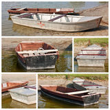 Worn boats at the lakeside Royalty Free Stock Photos