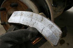 Worn brake pad Stock Photography