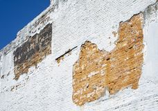 Worn Brick Wall on Old Building royalty free stock photos