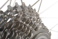 Worn Cassette. A worn nine speed bicycle chain gear cassette Stock Photo