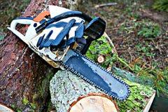 Chainsaw on fresh felled tree. Worn chainsaw on fresh felled tree royalty free stock photo