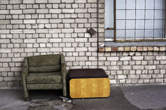 Worn chair in the street Royalty Free Stock Photo