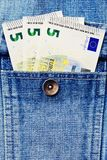Some euro money notes in jeans jacket pocket Royalty Free Stock Image