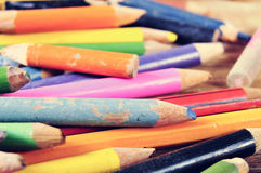 Worn coloured pencils Stock Photography
