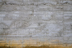Worn Concrete Wall. Worn Raw Gray Concrete Wall with Rusty Brown Bottom Royalty Free Stock Photos