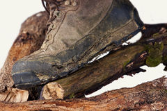 Worn and dirty trekking boots Royalty Free Stock Images