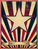 Worn and Faded Retro Poster Template. A damaged, worn and faded stars and stripes themed vintage retro poster background Stock Image