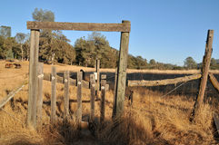 Worn Fence Field Gate Royalty Free Stock Photo