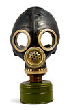 Worn Gas Mask. Black worn gas mask isolated with clipping path over white background. Front view Stock Photography