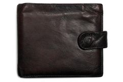Worn grungy reddish black grunge leather wallet Royalty Free Stock Image