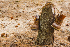 Worn hiking boots Royalty Free Stock Images