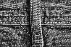 Worn jeans, Denim texture, macro background for web site or mobile devices, monochrome shot. Closeup of jeans apron, Denim texture, macro background for web site Stock Images