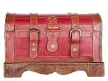 Worn leather chest or trunk isolated Royalty Free Stock Photography
