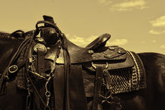 Worn leather western horse saddle Stock Image