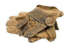 Worn Leather Work Gloves. A pair of well worn leather rancher style work gloves Stock Photography