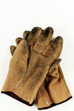 Worn Leather Work Gloves Stock Photo