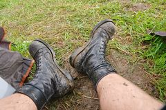 Worn Muddy Boots Royalty Free Stock Photography