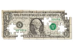Worn one dollar bill royalty free stock photography