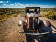 Worn out car wreck on route 66 near Holbrook in Arizona, Stock Image