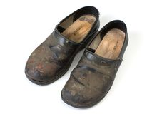 Worn out clogs Royalty Free Stock Images