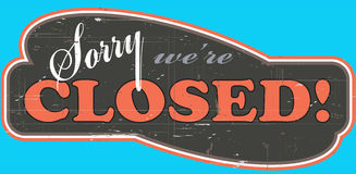 Worn_out_closed_store_sign Stock Photos