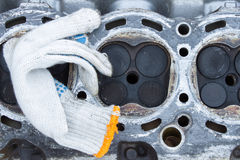 Worn out engine head with four valves per cylinder Royalty Free Stock Image